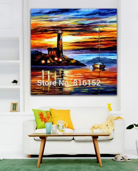 Modern Palette Knife Oil Painting Beautiful Sunset Seascape Picture Printed On Canvas For Office Home Wall Art Decor