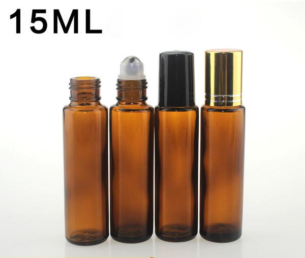 Высочайшее качество 15 мл коричневого янтаря стеклянные роллерные бутылки рулонные бутылки с металлическим шариком для эфирных масел ароматерапия духи и бальзамы для губ