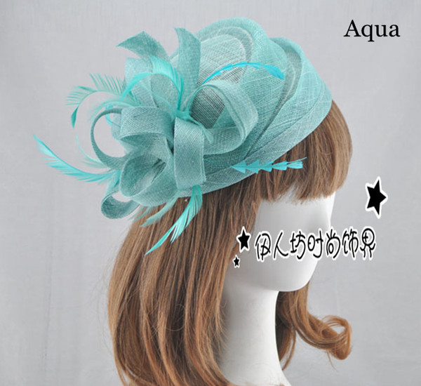 best selling 15 Colors Bridal Hats High Quality Small Flower Sinamay Hats For Women Free Shipping Wedding Hair Accessories Feather Party Hats Wholesale