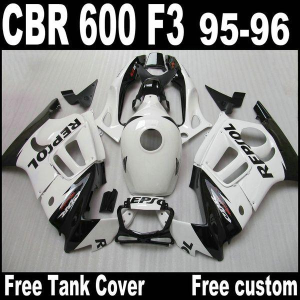 White REPSOL ABS Fairing kit for Honda CBR 600 F3 body repair fairings 95 96 CBR600 F3 1995 1996 CBR 600
