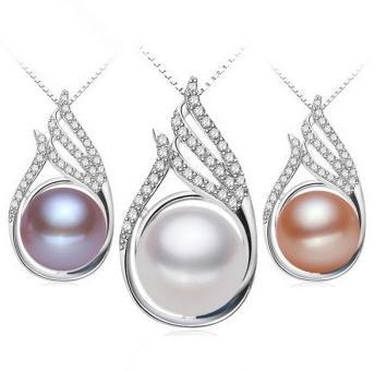 Hot sell Ms. Oblate 11-12mm natural pearl pendant necklace 925 silver