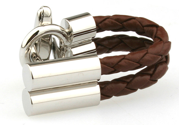 Chaîne en cuir brun boutons de manchette chemise française marié unique mariage boutons de manchette hommes boutons de manchette d'affaires argent pour hommes