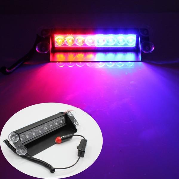8 LED luci stroboscopiche ad alta potenza con ventose Pompiere Lampeggiante Luce di emergenza per auto camion 8 LED Stroboscopiche per auto Avviso di traino