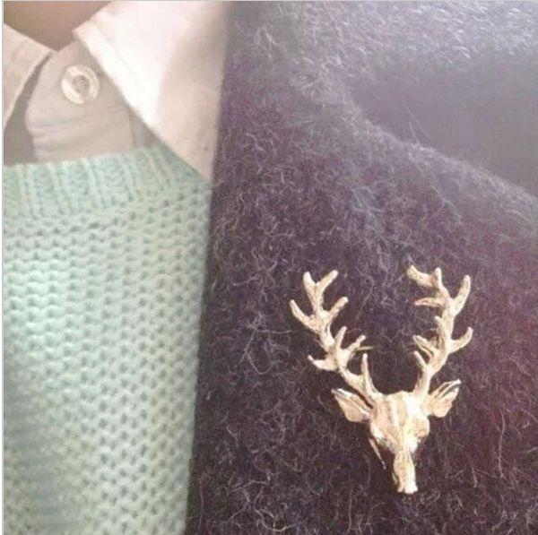 Heiße Unisex Tier Weihnachten Weihnachten Beliebte Nette Gold Überzogene Hirschgeweih Kopf Pin Broschen Styling Schmuck
