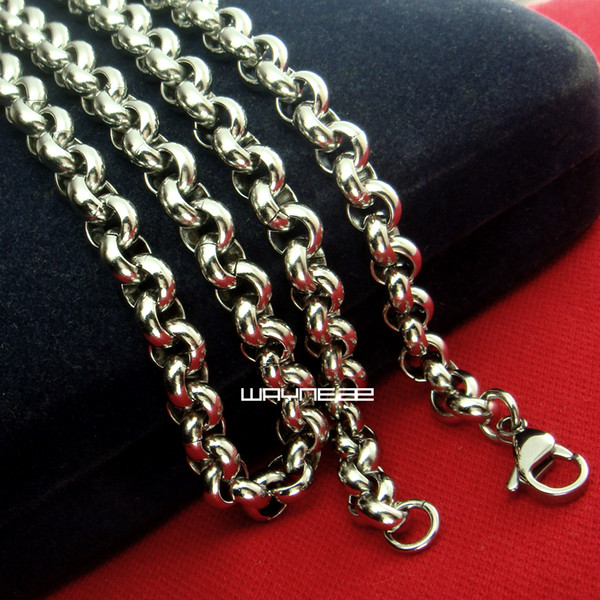 7mm Hotsale Cool Men Necklace Stainless Steel Ring Link Chain (50,60,70CM) N260