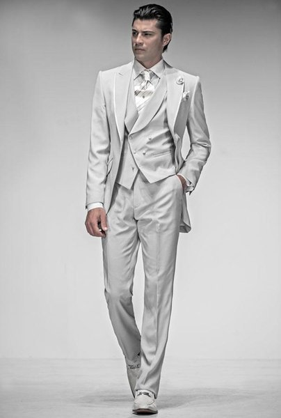 Brand New Peak Lapel White Tailcoat Custom Made Groom Tuxedos Men's Wedding Dresses Prom Clothing (Jacket+pants+Vest)NO378