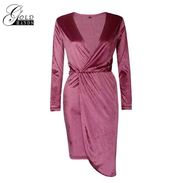 Gold Hands Women New Fashion Casual Dress Autumn Spring Pullover Brief Irregular Velvet Straight S-XL Size for Female Dress