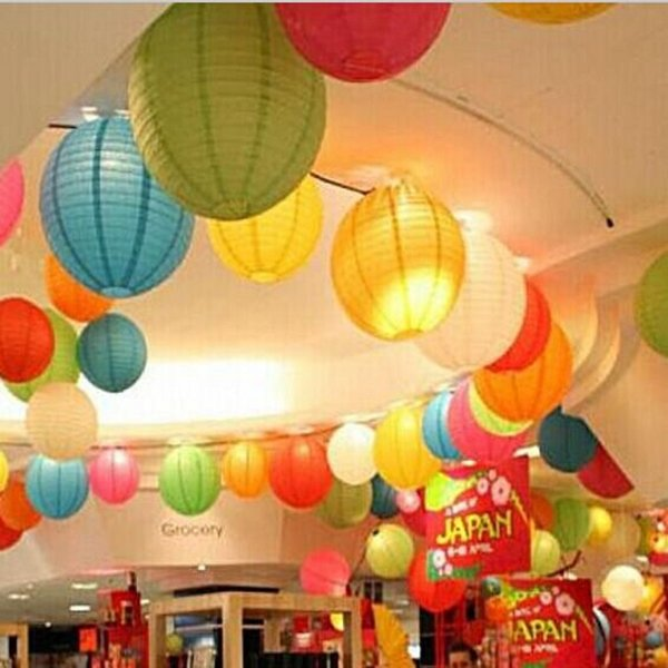 "Fashion 10"" Chinese Paper Lanterns With LED Candle Lights For Wedding Christmas Birthday Hanging Ornament Party Decoration Supplies"