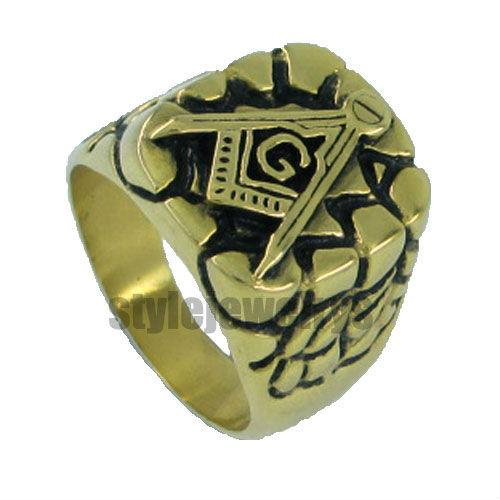 Free shipping! Gold Plated Masonic Ring Stainless Steel Jewelry Ring Classic Freemasonry Ring Masonic Ring SJR0010GB