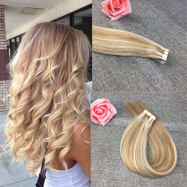 Tape In Remy Human Hair Extensions 16 - 24 inch Straight Brown Seamless PU Skin Weft Hair Extensions Multi Colors Cheap Price