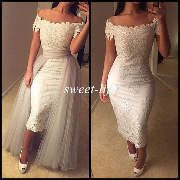 New Sexy Prom Dresses White Lace Tea Length Off Shoulder Short Sleeve Detachable Train 2019 Vintage Women Evening Gowns Party Cocktail Dress