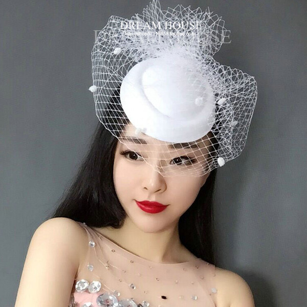 Newest White Black Dotted Mesh Wedding Fascinator Hat Women Vintage European Ladies Fancy Show Party Race Dinner Veil Headpiece