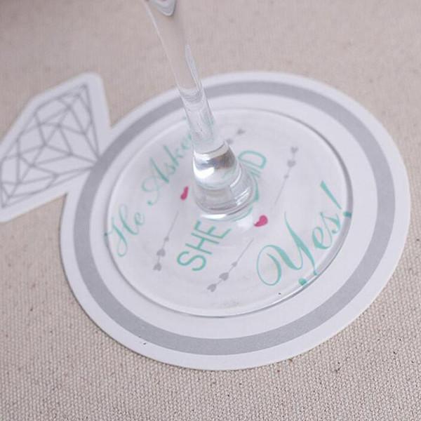 Fashionable Style Diamond Ring Design 9.8cm Paper Coasters (Set of 12) Bridal Shower Favors Wedding Decoration ZA5523