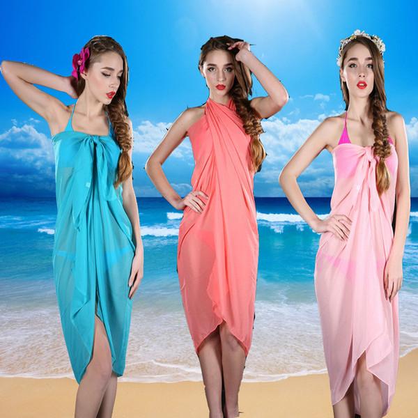 NUEVOS trajes de baño Chiffon Sarong Classic Candy Colors Mujeres Bikini Velo Vestido de encierro Multifuncional Beach Wrapped Silk Towel 10Pcs / Lot