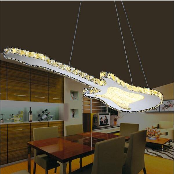 Moderne Kristall Fhrte Pendelleuchten Fr Esszimmer Wohnzimmer Gitarre Form Modernen LED Pendelleuchte Lampe Lamparas Modernas