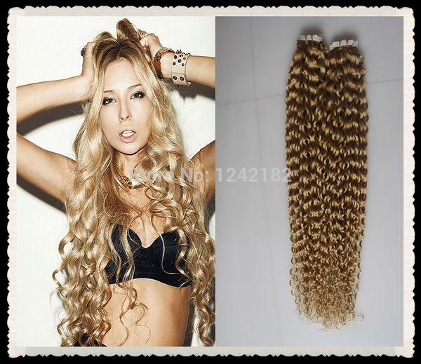 brasileño pelo rizado rizado rizado extensiones de cabello de cinta de  trama de piel de 40 29ec80e1513b