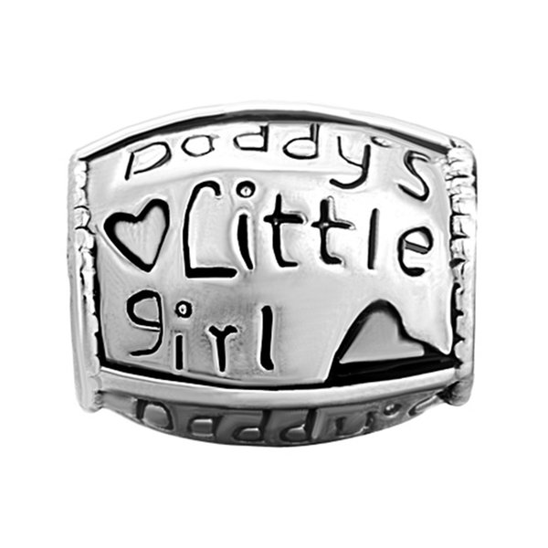 25d14374d Daddy's little girl Metal Slider Bead Big Hole European Spacer Charms Fit  Pandora Chamilia Biagi Charm Bracelet