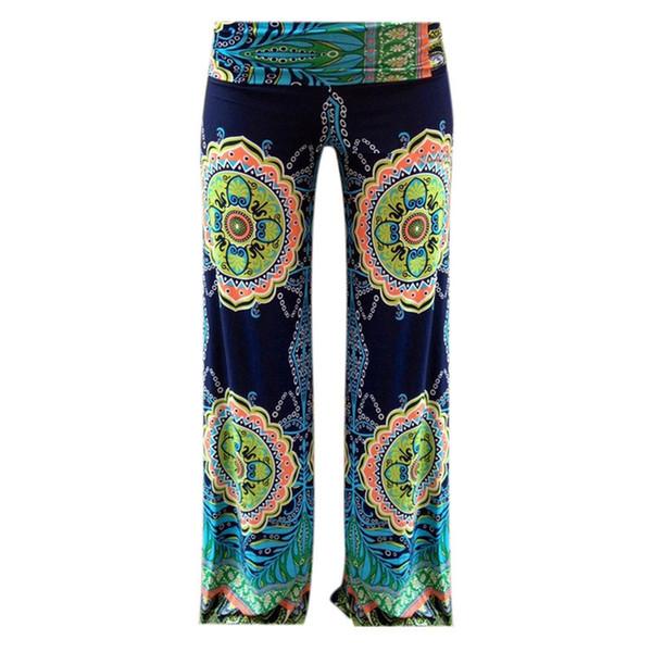 Pantaloni sportivi lunghi della donna di stile di vita di estate pantaloni stampati allentati floreali della boemia dei pantaloni larghi della gamba larga Pantaloni classici di Exuma S-L Trasporto libero