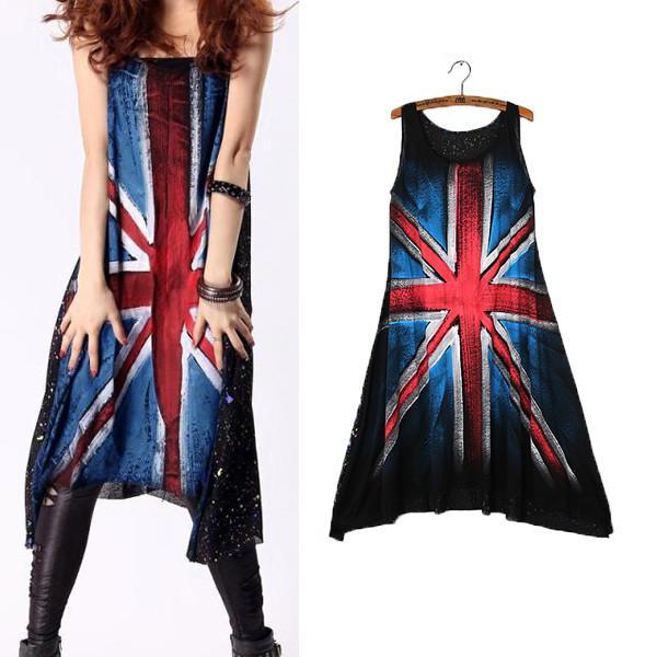 2014 New Women Hand Painted Punk Style Sleeveless Loose Big Hem Vest Geometric Casual Tank Dress Free Shipping
