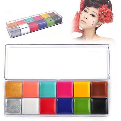 1 set 12 colori flash tattoo viso corpo vernice pittura a olio di arte festa di halloween fancy dress beauty strumenti di trucco