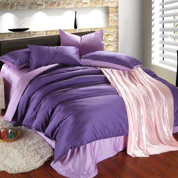 Luxury purple lilac bedding set queen duvet cover king size double bed in a bag sheet linen quilt doona bedsheet bedroom tencel western