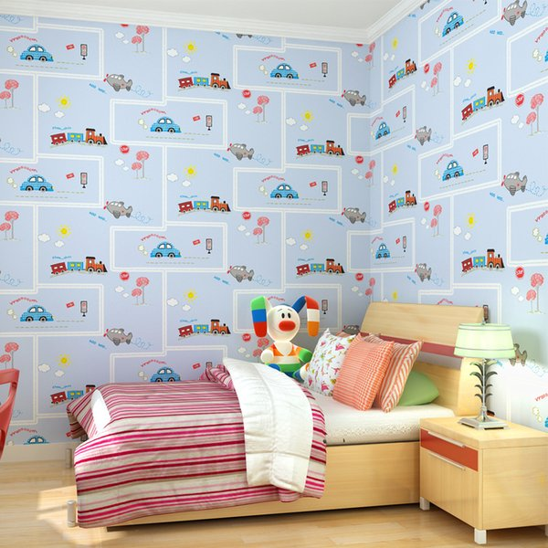 Fashion Hot 10 Metercartoon Car Driver Wallpaper Home Decor For Boys Bedroom Non Woven Of Wall Paper Roll Space Wallpaper Spiderman Wallpaper From