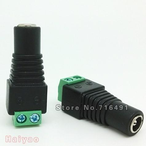 Free Shipping 100 PCS/LOT Female Mark Polarity DC Power Jack Connector Adapter Plug For Color LED Strip Light or cctv camera