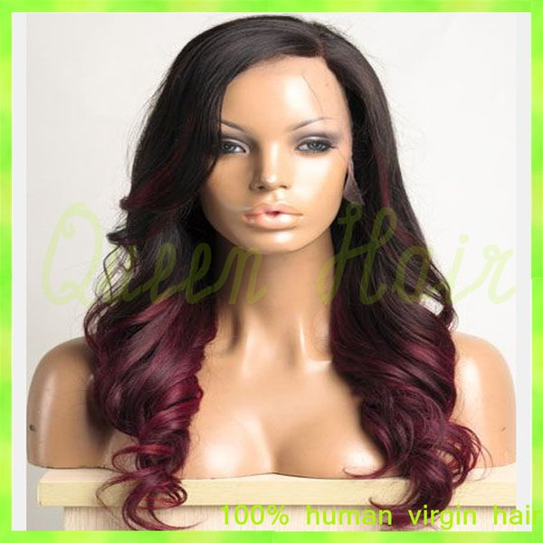 #1b T #4 Glueless Full Lace Ombre Wigs for Black Women/Two Tone Ombre Lace Front Wig Human Hair with Baby Hair Natural Hairline