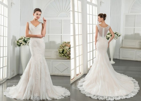2016 Backless Wedding Dresses Plus Size Vintage V Neck Lace Beaded ...