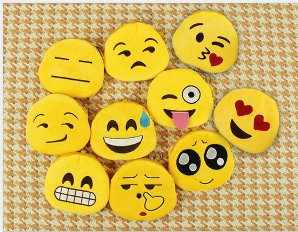 20 pcs Monederos lindos de la historieta Emoji Monederos de los cabritos Regalos Moda Mujeres Niños Mini Bolsas con cremallera Emoji llaveros colgantes EMJ014
