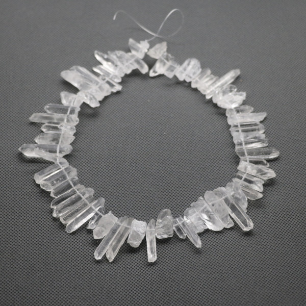 Approx. 76pcs Raw White Crystal Quartz Rock Pendant, Natural Gemstone Freeform Spikes Points Drilled Briolettes, 15.5 Inch Women Necklace