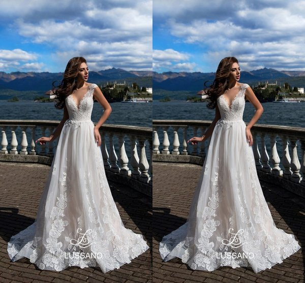 fdf20f5090 Simple Elegant White Summer Beach Wedding Dresses Illusion Back Lace  Appliques A Line Cheap Bohemian Country