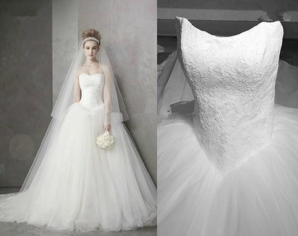 Princesa Estilo Vestidos De Casamento Querida Lace Tule V Forma Cintura Tribunal Trem Lace up Vestidos De Noiva Para Trás Custom Made W496 Romântico