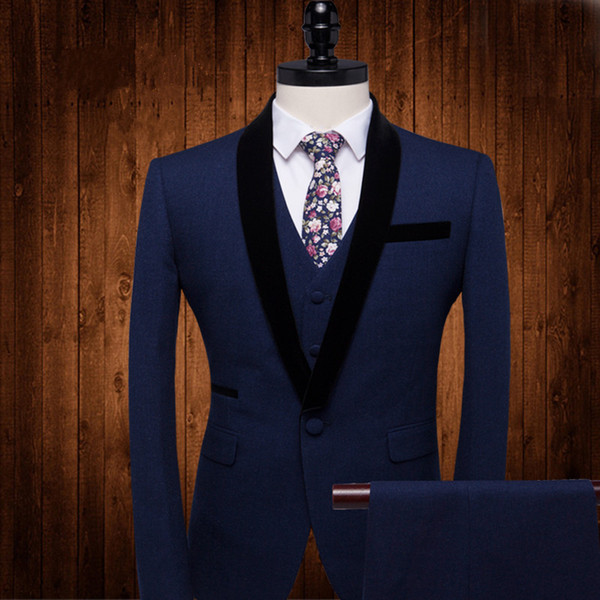Custom made three pieces groom tuxedos best slim fit wedding suits for men Groom Groomsmen Tuxedos mens wedding suits (Jacket+Pant+Vest)