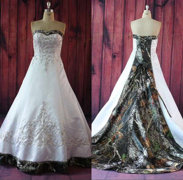 Real picture realtree camo wedding dre e 2016 a line embroidery court train white atin lace up elegant bridal gown cu tom made