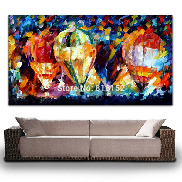 Palette Knife Oil Picture Colorful Balloon World Painting Printed on Canvas Mural Art for Home Living Office Wall Decoration