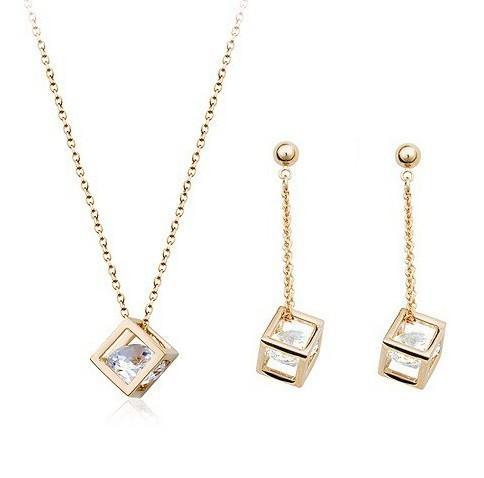 Conjuntos de joyas Pendientes Collar Cristal austriaco Cuadrados Conjuntos Chapado en oro plateado Collares pendientes Colgantes pendientes Joyas de moda