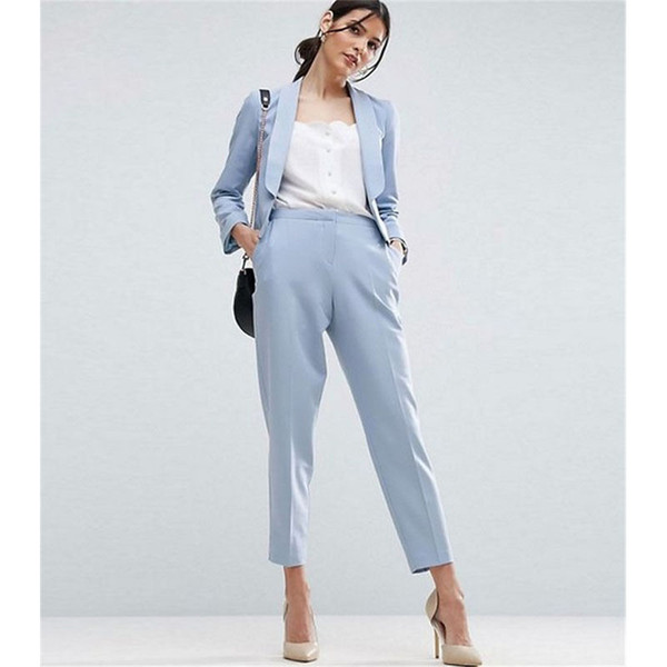 Light Sky Blue Women Business Suits Formal Office Suits Work Ladies Trouser Suit 2 pieces (jacket + pants) custom made