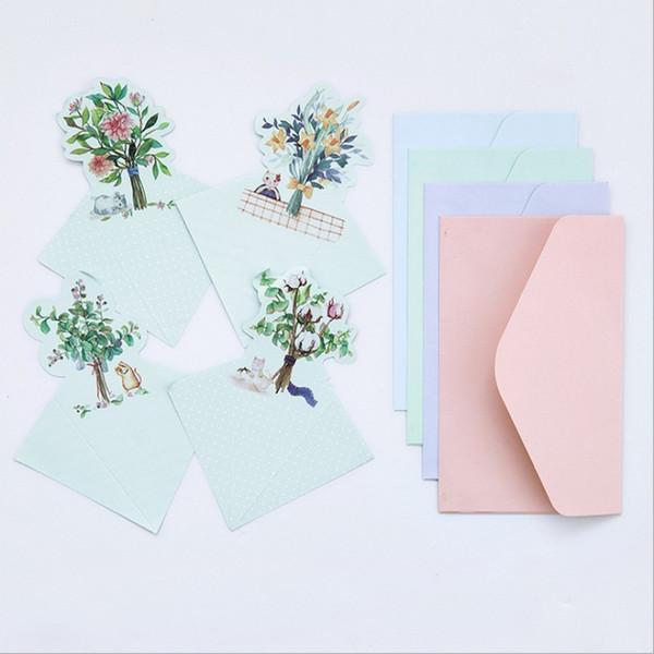 Wholesale- 4 pcs envelope+4 page letter forest cat paper Envelope stationery Office&School Supplies envelope for party Letter Invitation