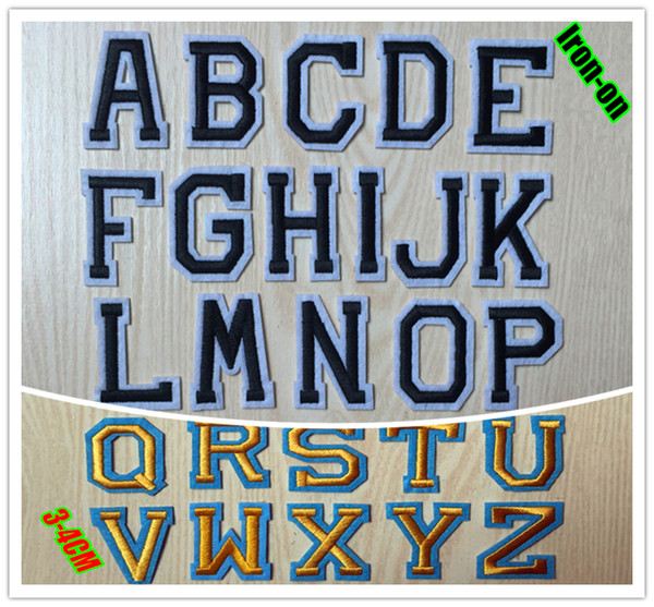 Functional embroidery letter patches iron on cloth patch 26 pieces per lot