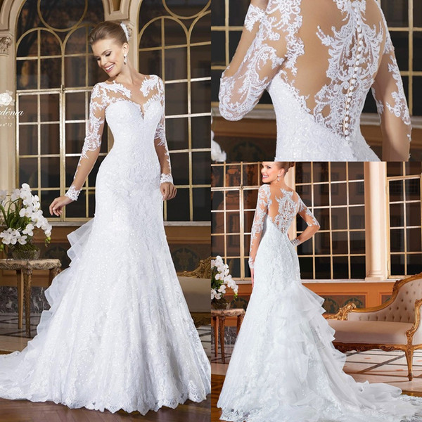 2018 vintage long leeve mermaid wedding dre e appliqued lace button tiered ruffle back bride gown ve tido de novia robe de mariage