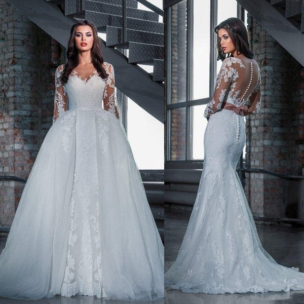 2016 Modest Mermaid Full Lace Bridal Wedding Dresses With Illusion ...