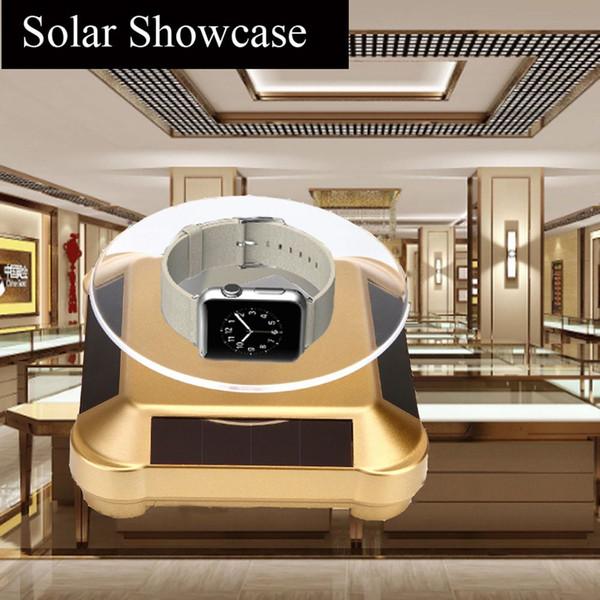 1 Pcs ew Solar Showcase Automatic Rotating Stand 360 Degree Turntable Jewelry Bracelet Display Hot Sale