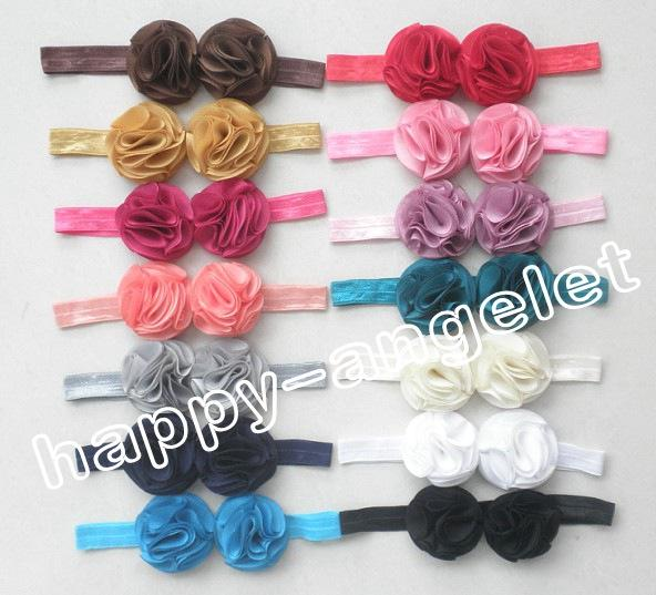 """20pcs hair accessories for girls 2"""" Vintage double bows flower combination baby headband flower on stretchy hair band african gele SG8512"""