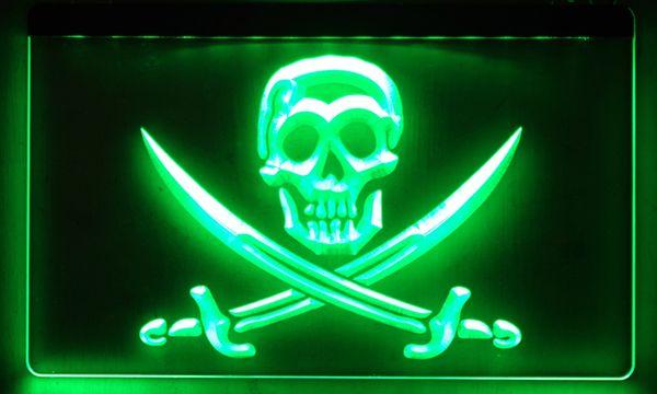 LS016 Pirates Skull Bar Pub Beer NEW Neon Light Sign
