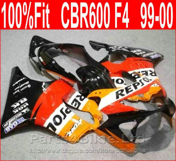 Carenado rojo de alta calidad para Honda REPSOL carenado CBR600 F4 99 00 CBR 600 F4 carenados 1999 1999 VROB