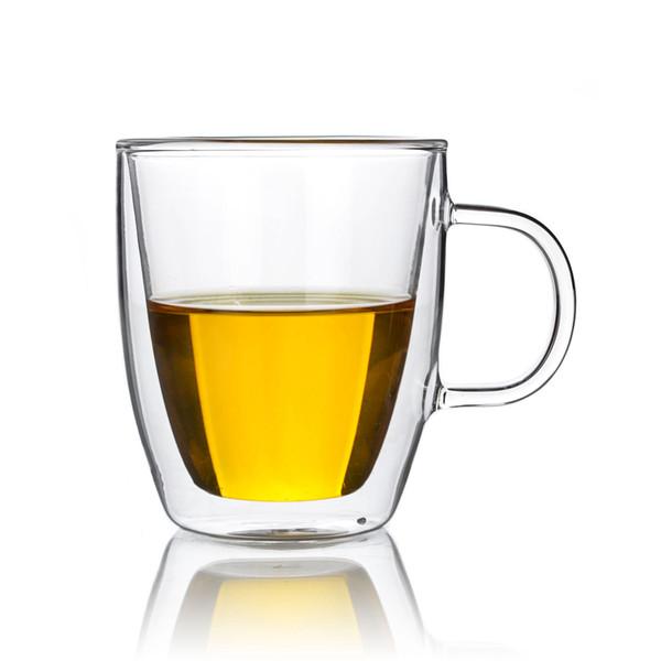 Lots 11.8fl.oz 350ml Heat Resistant Double Wall Glass Tea Drink Mugs W/ Handle Drop Shipping