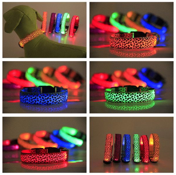 Leopard Pet Dog LED Collar Glow Cat Collars Flashing Nylon Light Up Training Collar for dogs 8 Colors 4 Sizes Pet Supplies