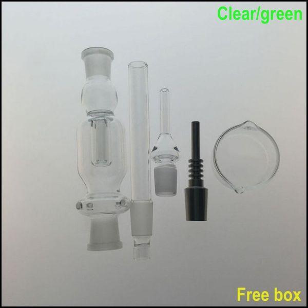 Kit coletor de vidro HoneyTip com prego de titânio GR2 palha de mel prato Dabber Mini Bongo de vidro 14.4mm conjunta coletor liso Dab Rig plataformas de petróleo