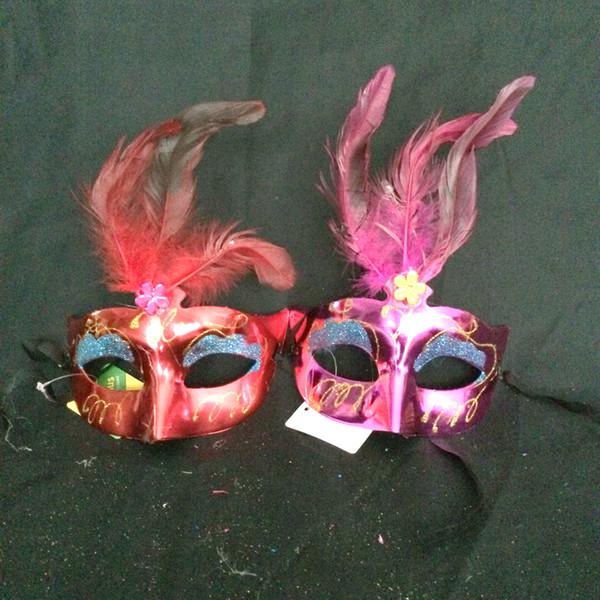2016 new fashion Feather mask Women Feathered Venetian Masquerade Masks masked ball Painting crystal Spray paint Masks 10pcs
